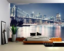 online get cheap large wall mural new york aliexpress com custom large murals modern fashion new york bridge wallpaper living room sofa tv wall boys bedroom wallpaper papel de parede