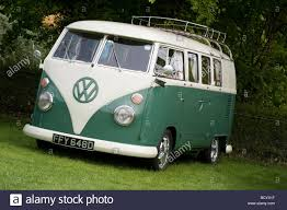 volkswagen green white and green volkswagen split screen camper van stock photo