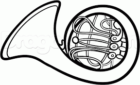 how to draw a french horn step by step wind musical instruments