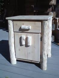 handmade cedar log nightstand by ml cross llc custommade com