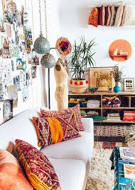 white bohemian living room suitable with bohemian wallpaper living
