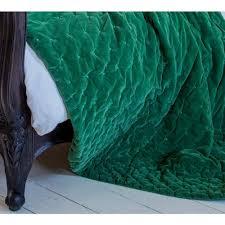 Emerald Plushious Velvet Bedspread In Emerald Green Velvet Throw