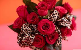 roses bouquet leopard print ribbon 4k hd desktop wallpaper