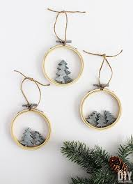 tree ornaments embroidery hoop faux concrete christmas tree ornaments