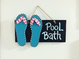 pool bathroom sign flip flops summer decor pool