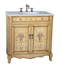 32 inch bathroom vanity hand painted floral design beige color