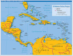 Physical Map Of North America by Political Map Of Central America And The Caribbean Nations