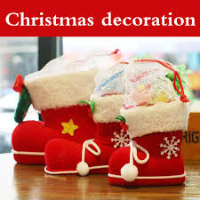 Christmas Decoration Supplies Wholesale by 4pcs Lot Red Creative Christmas Boots Flocking Boots Socks Gift