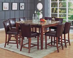 Classy Marble Top Square Counter Height Table Bar - Bar height dining table with 8 chairs