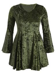 bell sleeve velvet fit and flare short cocktail dress green xl