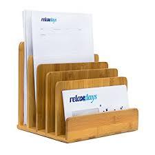 organiseur de bureau en bois relaxdays 10019131 porte lettres porte courriers en bambou casier