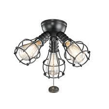 Ceiling Fan Lights Kichler 370041sbk Industrial Ceiling Fan Light Kit In Satin Black