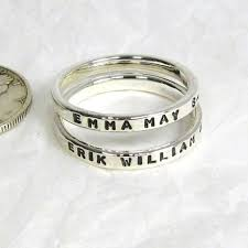stacking name rings 2 sterling silver promise rings 2 mm stacking ring name ring