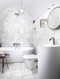 cool black and white bathroom with tile accent plus doorless