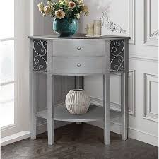 Corner Accent Table Corner Accent End Phone Table 2 Drawer Chest Shelf Silver Gray