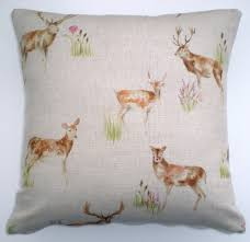 cushion cover small deer stag doe voyage fabric both sides 16