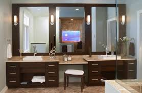Dazzling White Bathroom Matching With Sleek Ceramics Flooring In - Vanity mirror for bathroom