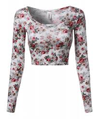 women u0027s floral prints lightweight long sleeve crop top