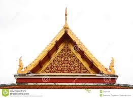gable roof on thai temple in wat ratchanadda bangkok thailand