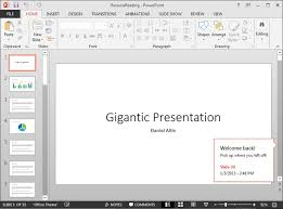 powerpoint 2013 pick up where you left off in your presentation