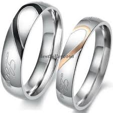 engagement ring and wedding band stainless steel real heart couples promise engagement