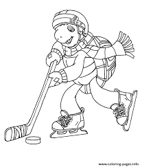 Franklin Playing Ice Hockey Fbd2 Coloring Pages Printable Franklin Coloring Pages