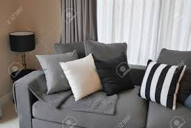 Striped Sofas Living Room Furniture by Stylish Living Room Design With Grey And Black Striped Pillows