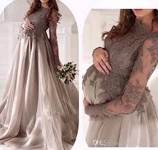 maternity evening wear modest gray lace applique maternity evening dresses for