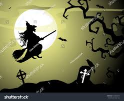 halloween cat silhouette background halloween witch flying on broomstick scary stock vector 110956694
