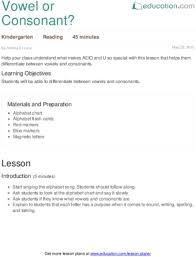 vowel or consonant lesson plan education com