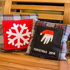 santa handprint craft holiday keepsake pillow