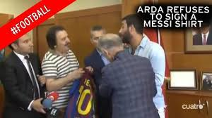 Lionel Messi Halloween Costume Barcelona Boy Arda Turan Refuses Sign Lionel Messi Shirt