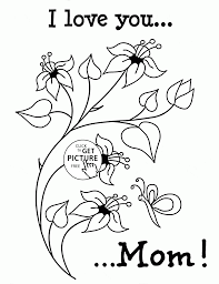 i love you printable coloring pages cute flowers with love mother u0027s day coloring page for kids
