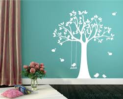 tree wall decal with swinging birds vinyl tree stickers