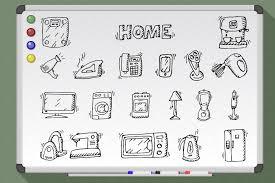 appliances on white board vectr icons creative market