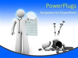 powerpoint template medical doctor puts on latex gloves for