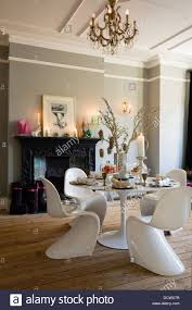 modern dining room in victorian terrace decorated for christmas