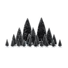 lemax village collection accessories set 21 assorted pine trees
