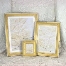 5x7 simple shabby chic white gold narrow photo frame
