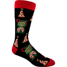 pizza christmas socks wish you a merry crustmas funny socks for