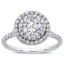 diamond rings round images Round double halo split shank diamond ring in 14k white gold jpg