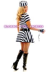 Womens Prisoner Halloween Costume F80 Ladies Prisoner Jail Bird Convict Fancy Dress Halloween
