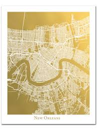 Map New Orleans by New Orleans Map Gold Foil Map Gold Foil Print Poster Foil