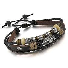 man bracelet online images Men women genuine leather brown bracelet bangle rope online jpg
