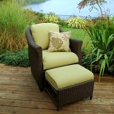 sterling home patio etta woven patio chair with hidden ottoman in
