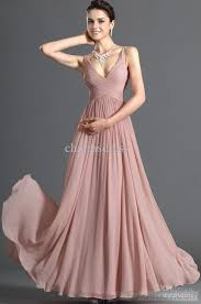 pink dress dusty pink chiffon dress v neck floor length a line evening prom