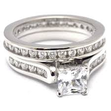 silver wedding ring sets princess cut cubic zirconia bridal ring set with side stones