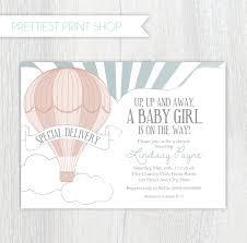 pink owl baby shower invitations printable invitation air balloon invitation style 2