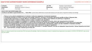 ksa resume examples sanitation superintendent job title docs