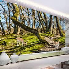 online get cheap forest tree wallpaper aliexpress com alibaba group custom wall mural photo wallpaper forest trees elk deer tv background wallpaper living room bedroom decor